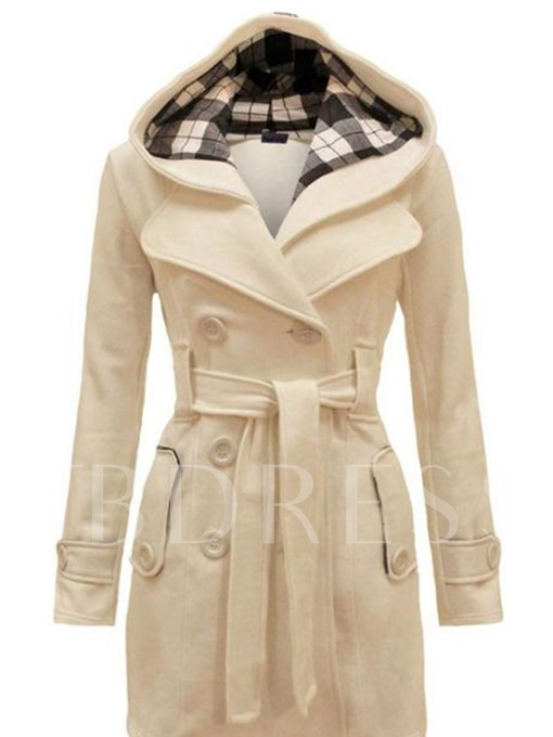 Double-Breasted Regular Belt Slim Mid-Length Women's Overcoat