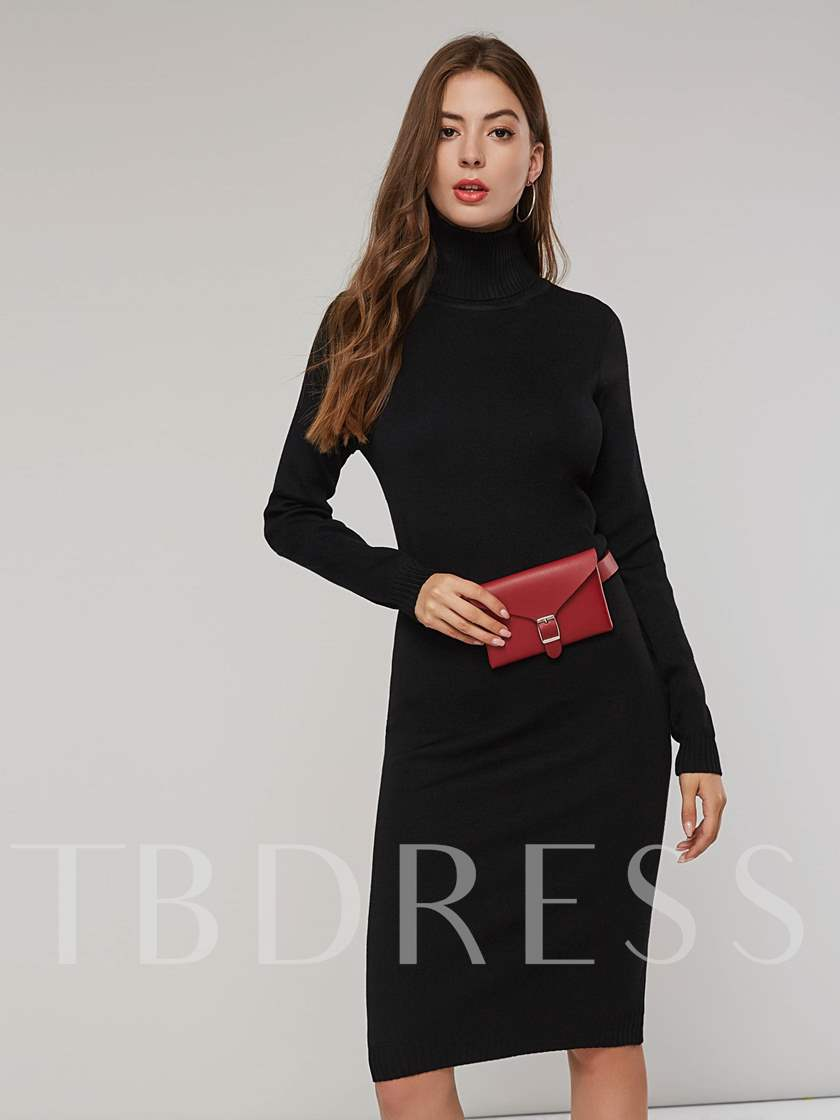 High Neck Long Sleeves Womens Sweater Dress Sold Out