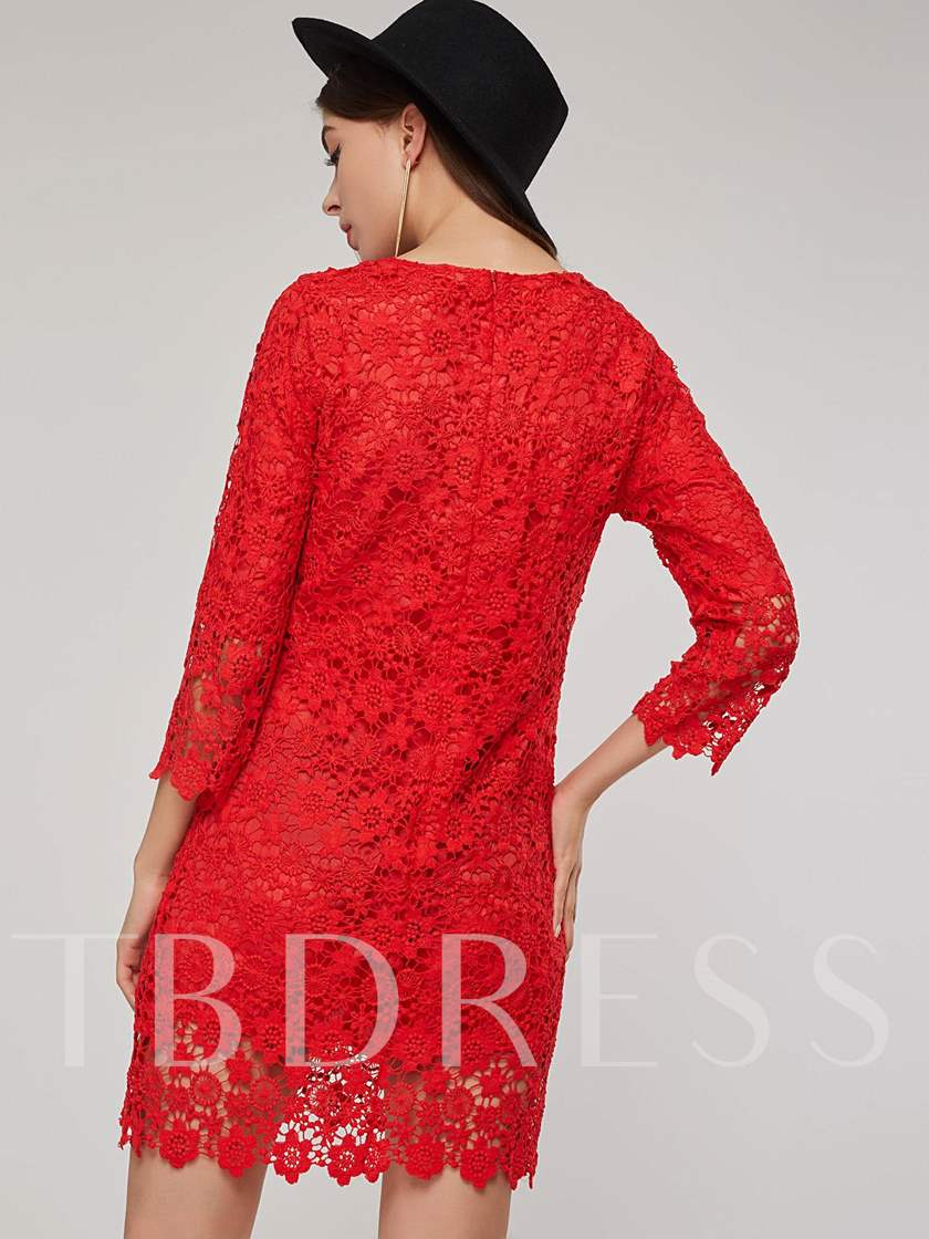 Red 3/4 Length Sleeves Pullover Women's Lace Dress
