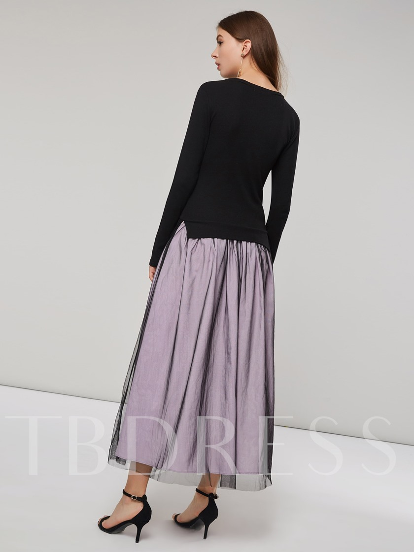 Mesh Patchwork Long Sleeves Women's Maxi Dress