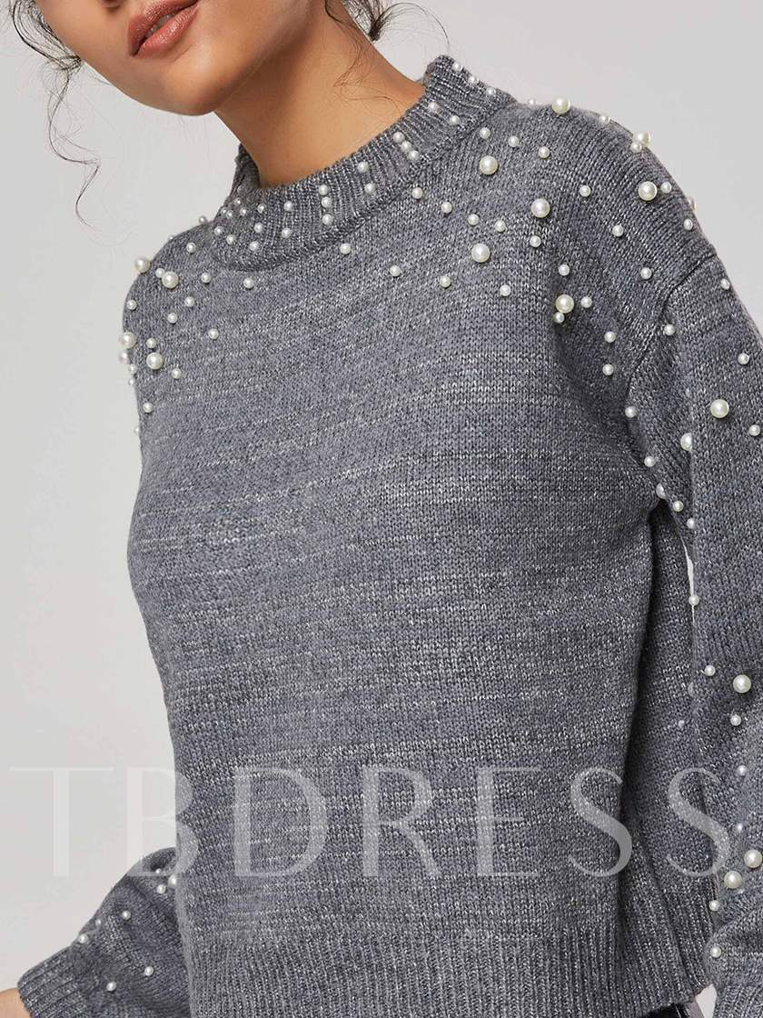 Faux Pearls Pullover Loose Fit Women's Sweater