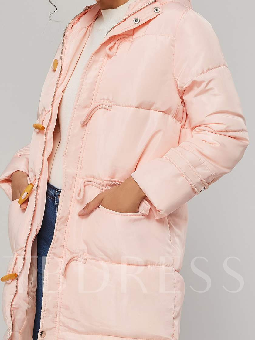 Horn Button Hooded Mid Length Puff Women's Cotton Padded Jacket