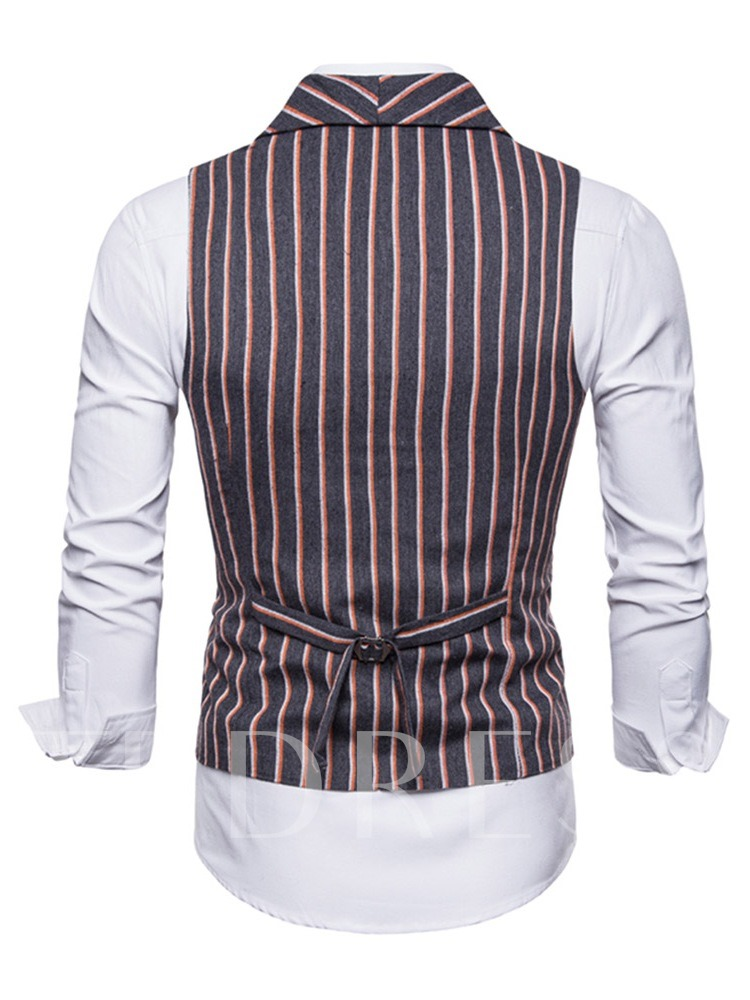 Casual Lapel Loose Stripe Double-Breasted Men's Blazer