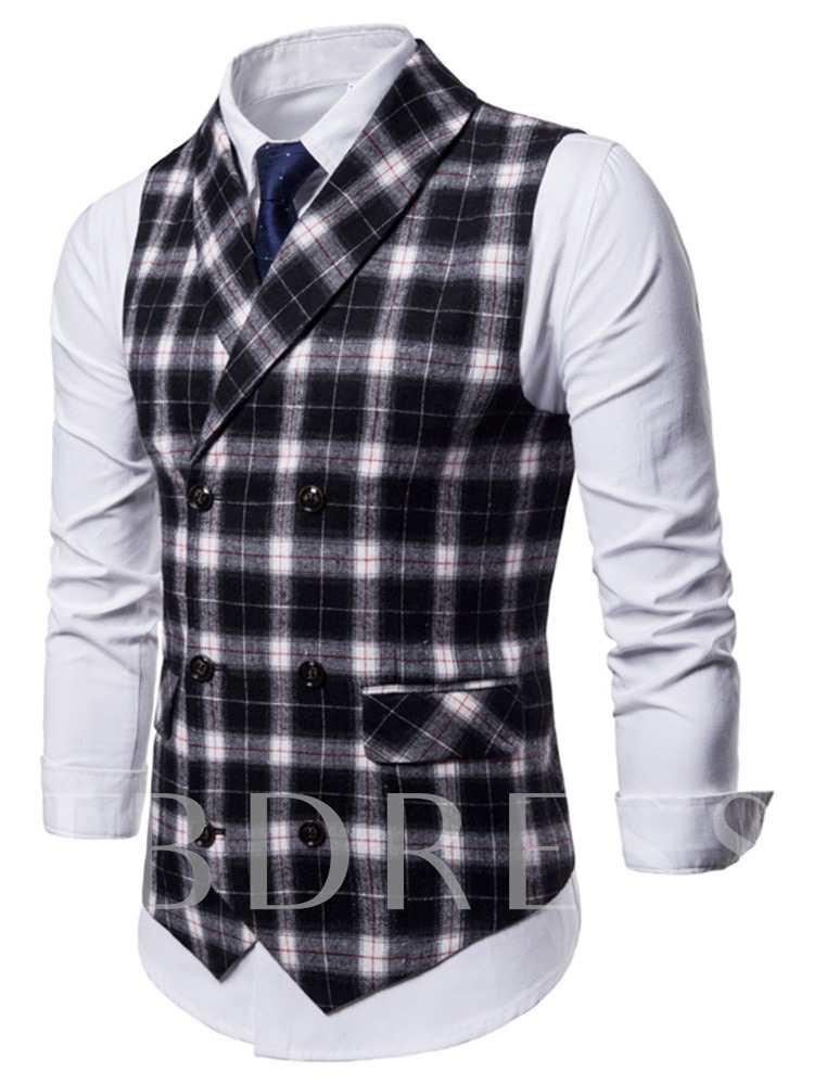 Casual Style Lapel Double-Breasted Plaid Pattern Men's Vest