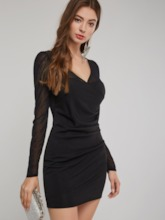 V-Neck See-Through Women's Bodycon Dress