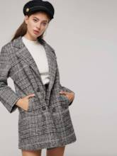 Plaid Print Notched Lapel Double-Breasted Women's Overcoat