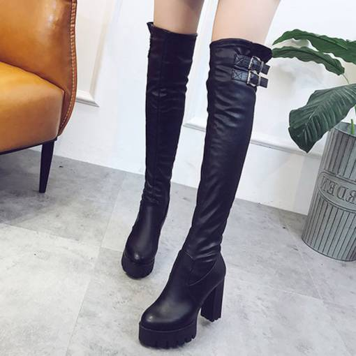 Hasp Chunky Heel Round Toe Casual Women's Knee High Boots