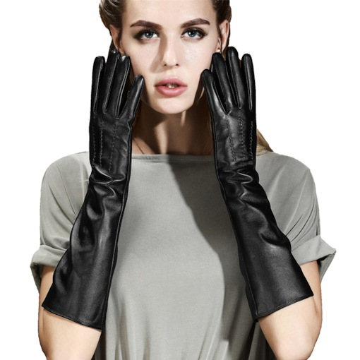 Black PU Leather Elbow-Length Cycling Warm Wind Gloves