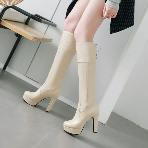 Lace-Up Back Chunky Heel Platform Round Toe Women's Knee High Boots