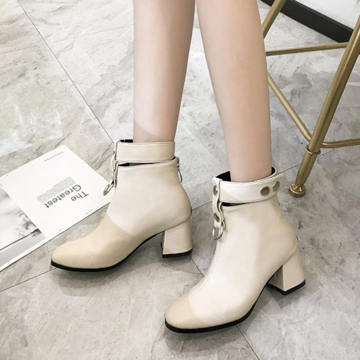 Square Toe Back Zip Chunky Heel Elegant Women's Ankle Boots