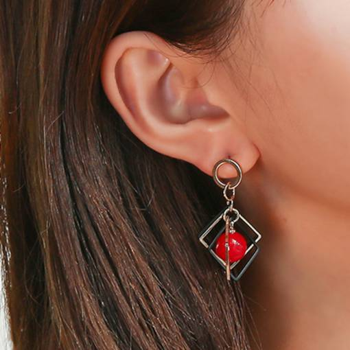 Hollow Out Square Shape Bead Drop Earrings
