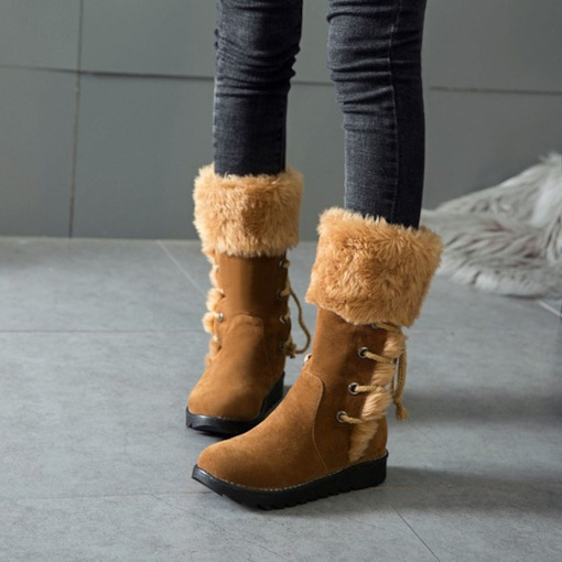 Lace-Up Back Wedge Heel Round Toe Warm Women's Snow Boots