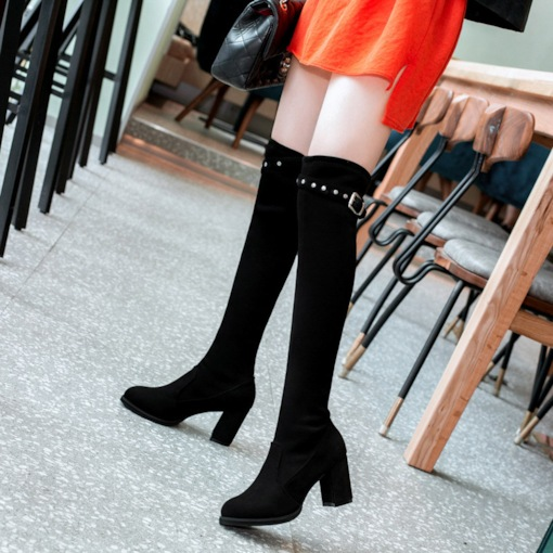 Suede Slip-On Round Toe Plain Rivet Buckle Women's Knee High Boots