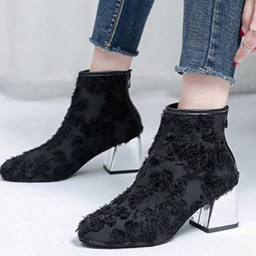 Back Zip Round Toe Chunky Heel Cloth Sexy Women's Ankle Boots