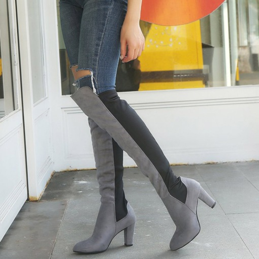 Pointed Toe Suede Slip-On Chunky Heel Patchwork Knee High Boots