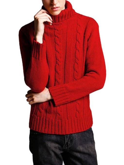 Casual Slim High Neck Plain Men's Sweater