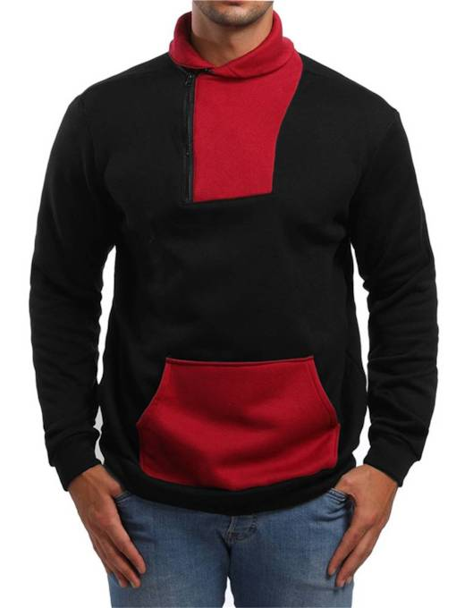 Slim Casual Lapel Color Block Patchwork Men's Hoodie