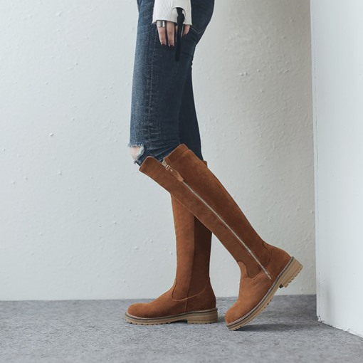 Side Zipper Round Toe Block Heel Sewing Casual Knee High Boots