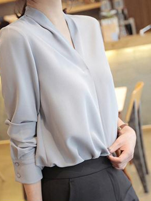 Plain V-Neck Long Sleeve Women's Blouse