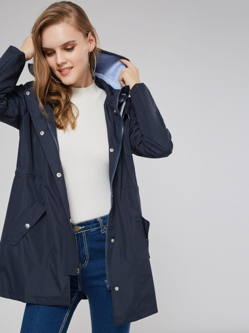 Tight Waist Hooded Single-Breasted Dual Pocket Women's Trench Coat