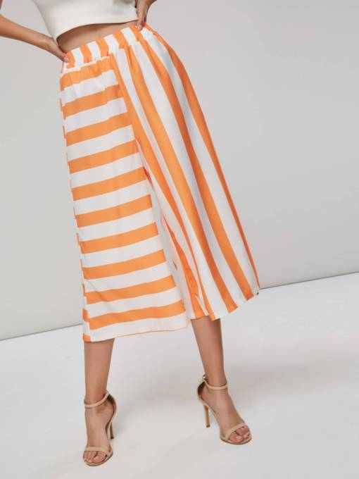 Asymmetric Stripe Wide Legs Women's Cropped Pants