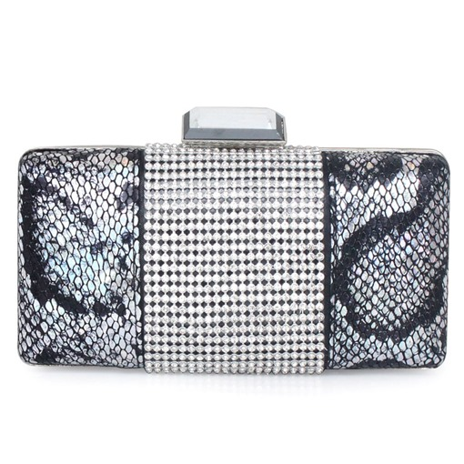 Rhinestone Color Block Rectangle Hasp Chain Clutch