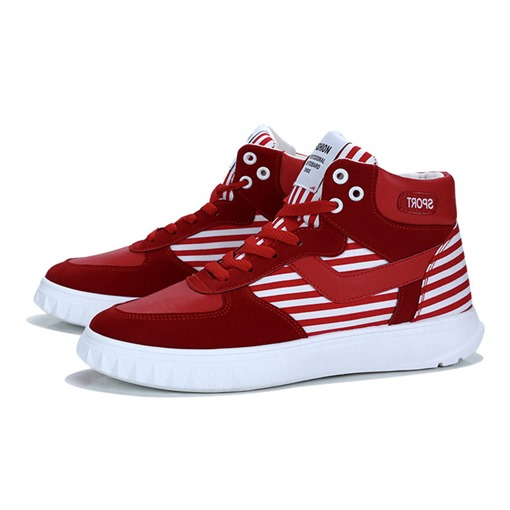 Round Toe Lace-Up Thread Stripe Patchwork Trendy Men's Sneakers