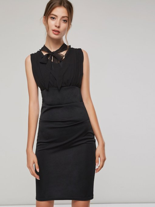 Black Sleeveless Ruffled Women's Bodycon Dress