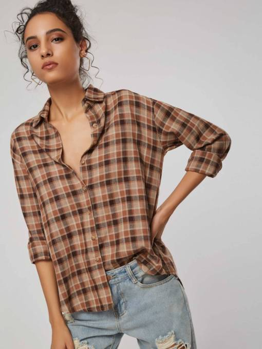 Plaid Print Single-Breasted Mid-Length Women's Shirt