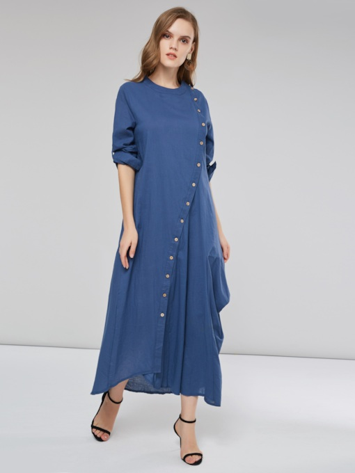 Single-Breasted Long Sleeves Women's Maxi Dress