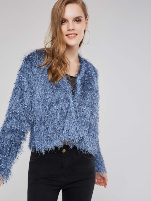 Plain Tassel Solid Color Women's Jacket