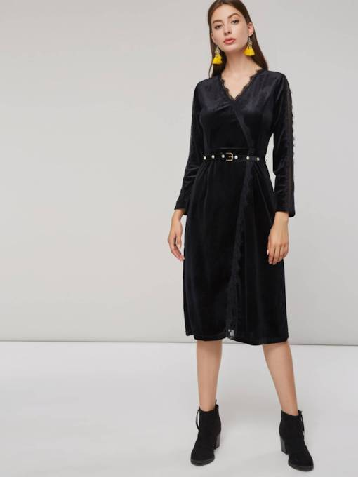 V-Neck Slit Belt Women's Long Sleeve Dress