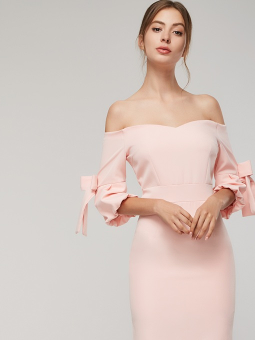 Off Shoulder Ruffle Sleeve Women's Sheath Dress