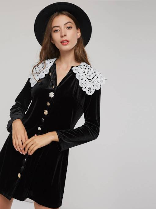 Peter Pan Collar Single-Breasted Women's Long Sleeve Dress