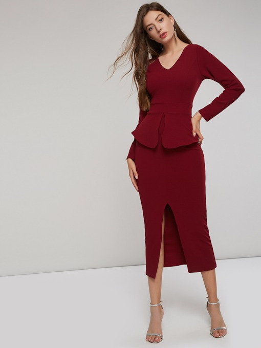 Long Sleeve Slit Women's Maxi Dress