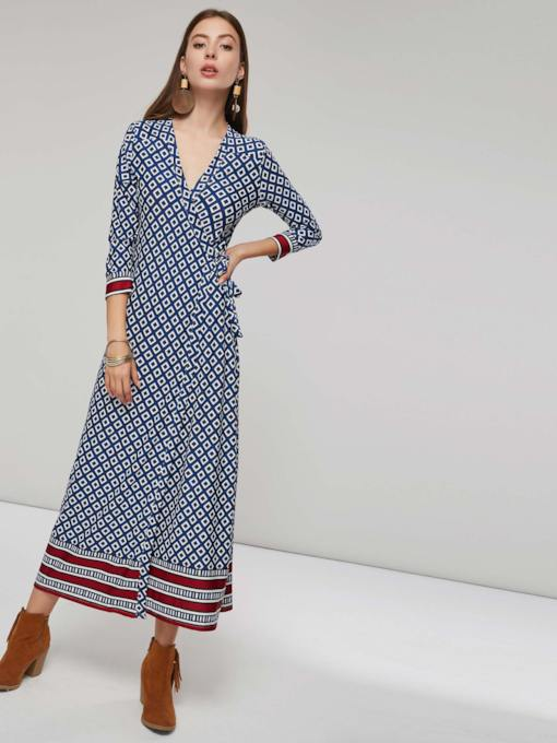 V Neck Ethnic Pattern Patchwork Women's Maxi Dress