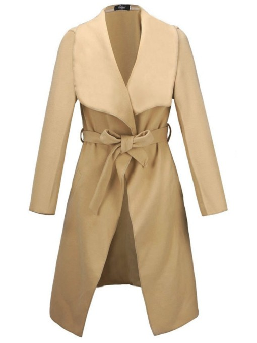 Classic Belt Lapel Mid Length Slim Fit Women's Overcoat