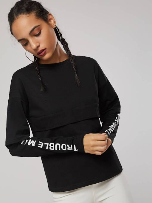 Letter Print Double-Layered Pullover Women's Sweatshirt