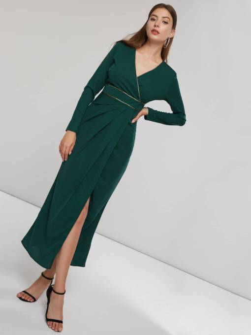 V-Neck Slit Long Sleeve Women's Maxi Dress