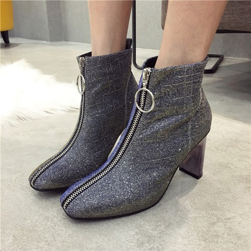 Front Zipper Chunky Heel Square Toe Casual Women's Ankle Boots