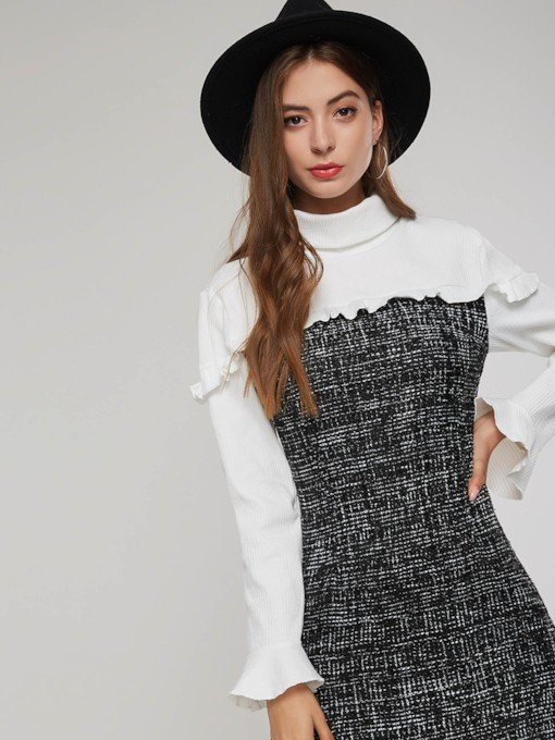 Stand Collar Color Block Patchwork Women's Long Sleeve Dress