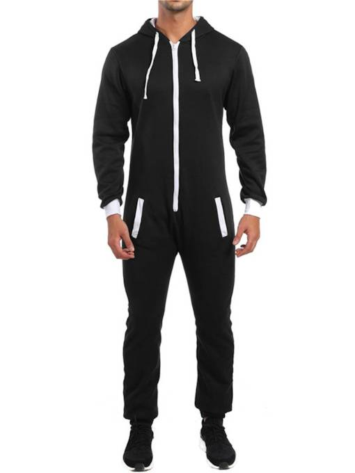 Slim Patchwork Plain Men's Sports Suit