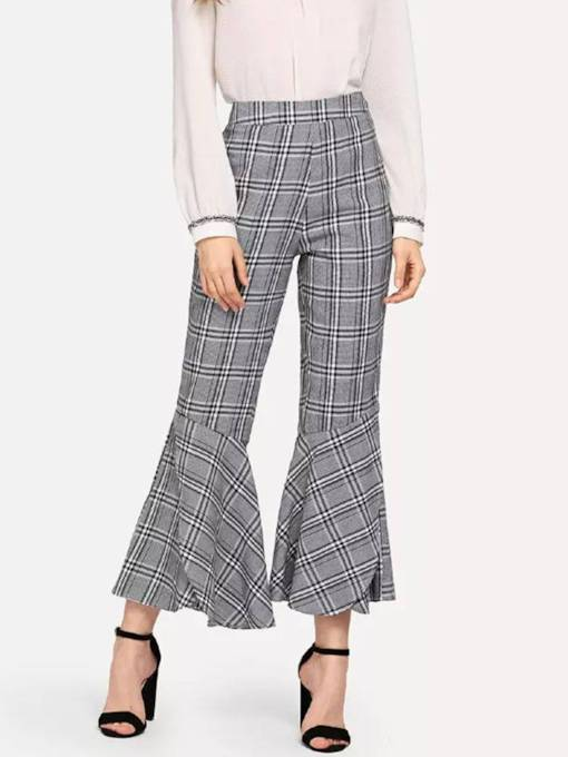 Plaid Ruffled Bellbottom Women's Casual Pants