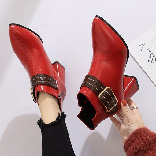 Pointed Toe Side Zipper Buckle Chunky Heel Women's Ankle Boots