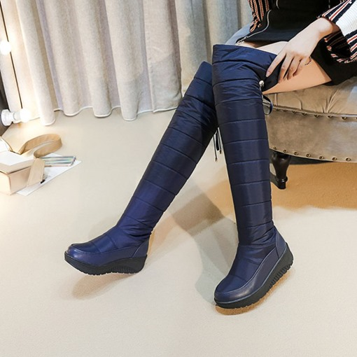 Lace-Up Back Wedge Heel Platform Plush Lining Women's Snow Boots