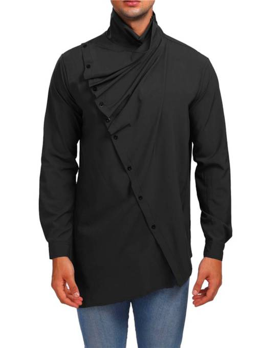 Slim High Neck Mid-Length AsymmetricPlain Men's Shirt