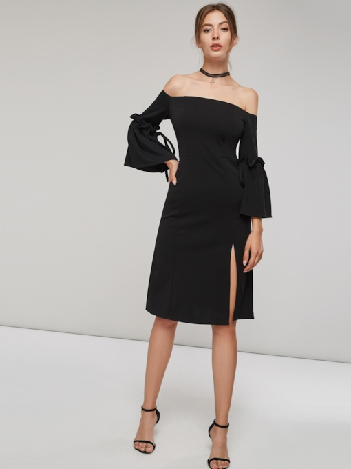 Off Shoulder Ruffle Sleeve Women's Day Dress