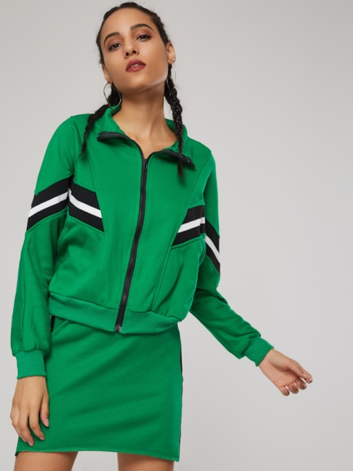 Zipper Color Block Hoodie and Skirt Women's Two Piece Set