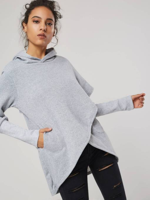 Asymmetric Patchwork Mid-Length Women's Hoodie