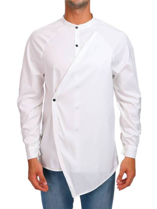 Slim Stand Collar Single-Breasted Plain Men's Shirt